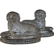 REDUCED Antique Pressed Glass ~ Newfoundland Dog Paperweights