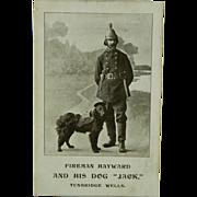 """SALE Fireman Hayward & His Dog """"Jack"""" Tunbridge Wells Postcard"""