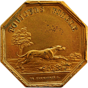 "SOLD Antique French Dog Medal ~ ""Toujours Fidèle"""