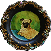 SOLD Jennings & Bettridge Papier Mâché Plate ~ Sweet Pug Dog