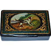 SOLD Antique Handpainted Papier Mache Snuff Box ~ Hunting Dog ~ RESERVED FOR KATE