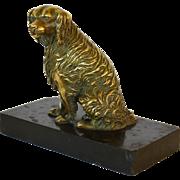 SALE Antique French Bronze Dog Paper Clip C1880