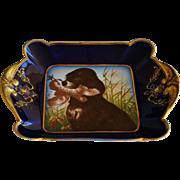 SALE C1882 Antique Haviland Limoges Plate ~ Hunting Dog