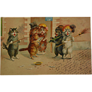 SALE Antique French Postcard ~ Singing Cats