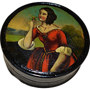 SOLD Victorian Papier Mache Snuff Box ~ Beautiful Lady