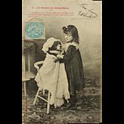 SALE Antique French Postcard C1904 ~ Child Dressing Dog