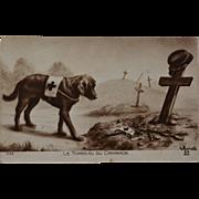 "SALE French WW1 Red Cross Dog Postcard ~ ""Le Tomeau Du Camarade"""