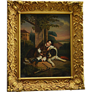 SOLD Antique Oil Painting ~ Newfoundland Dog Guarding Sleeping Child