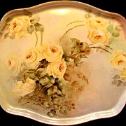 Antique Limoges Porcelain Dresser Perfume Tray Hand Painted Roses Floral Yellow Flowers Artist