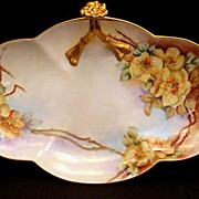 Antique Limoges Porcelain BonBon Dish Tray Split Handle Hand Painted Yellow Flowers Wild Roses