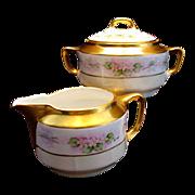Antique KPM German Porcelain Creamer & Sugar Bowl Hand Painted Pink Flowers Floral Artist ...