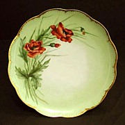Antique Haviland Limoges Porcelain Plate Hand Painted Flowers Orange Red Poppies Floral Artist