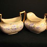 Antique T & V Limoges Porcelain Creamer & Sugar Bowl Stouffer Studio Hand Painted Forget Me ..