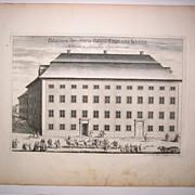 Erik Dahlberg Antique Print Suecia Antiqua Palatium Senatoris 1717 18th Century