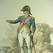 "William Henry Pyne Hand Colored Aquatint, Admiral from ""The Costume of Great Britain"""