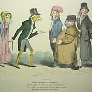 """GRANDVILLE Cariacture Print """"Grandville's Les Metamorphoses du Jour"""" Paris 1869 Pl"""
