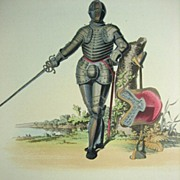 """Sir Samuel Meyrick Engraving """"Suit of Armour"""" from """"A Critical Inquiry into Ancien"""
