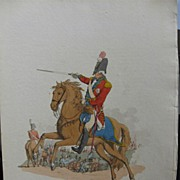 Pair PYNE Costume Great Britain HC Aquatint GENERAL DRAGOON