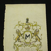 SOLD Jacobs ENG Peerage Rare Coat Of Arms Hastings Earl HUNTINGDON 1700'S