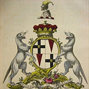 SALE Jacobs English Peerage Rare Coat of Arms Brydges Family 1700s