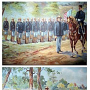SALE Two Chromos Chromolithograph US Army Infantry Field Equipment 1892, 1899 Antique Prints