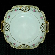 Nippon  Komaru Pink&Golden Roses Bowl~Scalloped Edges & Handpainted ca. 1910