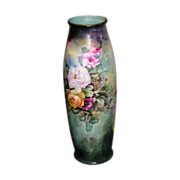 """~ Limoges Vase ~ 22"""" Tall  ~ Beauty Beyond Words ~ Hand Painted Roses ca ..."""