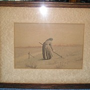 """""""The Gleaning """" ~Woman~ An Original Water Color~ late 1800's ~ 1900"""