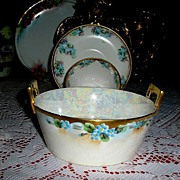 2pc Butter Tub ~ Hand Painted forget~Me~Nots & Gold ~ ca.1900