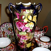 """Meiji Period Nippon Vase~10 3/4"""" H ~ Gorgeous Hand Painted Ruby Red & Yellow Roses ..."""