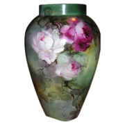 "LIMOGES Vase 14"" ~Hand Painted ROSES ~ Artist Signed ~ ca1894"