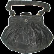 SALE Fine Vintage Black Moire Silk/Jeweled Evening Bag/Purse