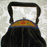 SALE Antique Beaded Velvet Purse/Bag, 1800s to early 1900s VF!