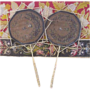 SALE Rare 19th C. French Gilt Bronze & Silk Embroidery Face Screen Pair