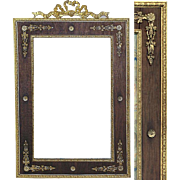 SALE Rare Antique French Empire Ormolu & Wood Picture Frame