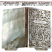 SALE Exq. Antique French Engraved Mother of Pearl Necessaire, Carnet du Bal or Aide Memoire