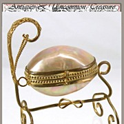 SOLD Antique French Mother of Pearl 'Egg' Casket, Infant Cradle