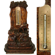 SALE Antique Black Forest Desk Thermometer, Rare Cow Figures