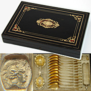 """SOLD Antique French 15pc Vermeil Tea Set in 12"""" Boulle Inlay Box!  12 Teaspoons with Tong"""