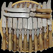 SALE Antique 12pc Set French Silver & Horn handle Dinner Knife Set