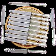 "SALE Elegant Antique French 12pc .800 Silver 10"" Dinner Knife Set: Gordion Knot pattern,"