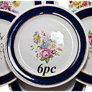 "SALE Fine Antique SPODE Copeland Dinner Plates, 6 in Set - 10.5"" Cobalt, Gold, Hand ..."