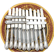 "SALE Antique French Sterling Silver 12pc 8"" Knife Set, Acanthus"