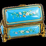 SALE Antique French Kiln-fired Enamel Jewelry Casket, Box, Etui - unsigned Tahan