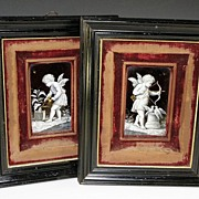 SOLD Superb Pair Antique Limoges Enamel Plaques, Ebony Frames, French Kiln-fired Enamels