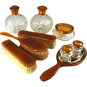 SALE Antique 9 Pc. Vanity Set, Blond Faux Tortoise Shell - 5 Jars, Cologne, Brushes & Mirror .