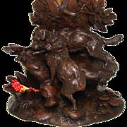 SALE Superb Antique Black Forest Carved Cache Pot, Tobacco & Match Stand: RARE Dog Figures