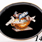 SALE Antique c 1860 Victorian Era Micromosaic Brooch, 9k Gold, Micro Mosaic Doves of Pliny