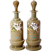 "SALE Antique Pair (2) French Opaline Decanters, 9.5"" Tall, Enameled in Floral against Tan"