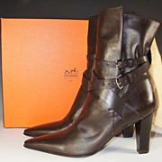 SALE Barely Worn, HERMES Ankle Boots, Brown 40 US 9, Excellent in Box, With Dust ...